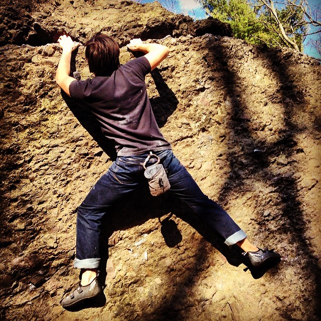 Awesome #bouldering sesh out in Chestnut Hill on a gorgeous Saturday. #greatoutdoors #chalkedup #solvingproblems