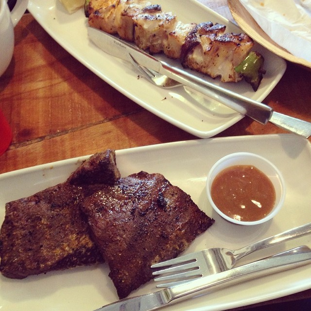 #whale steaks and #redfin kebabs at Saegriffin's just a skip away from the ocean!