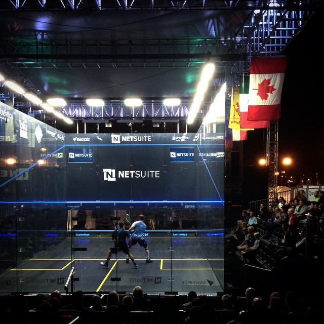 Caught the world's best with @eliotbuchanan at the Netsuite Open Squash Championships in #SF just across from the Ferry Building downtown. Some incredible matches!