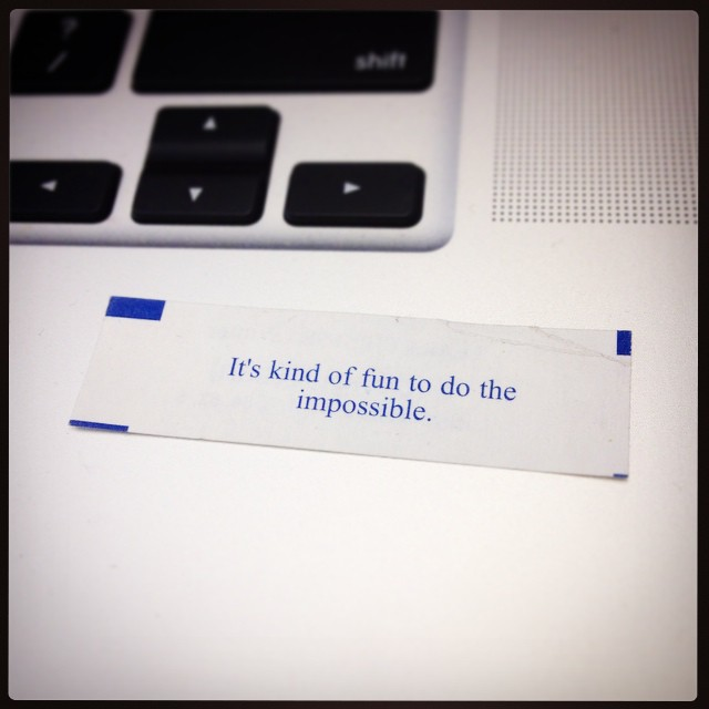I got this fortune cookie at the end of my last meal in Boston, the night before moving across the country to build a company in SF. It never feels more true than at the end of a long week. #OnwardAndUpward