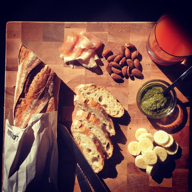 Simple, slow Sunday #brunch with the love of my life -- day-old baguette. ️