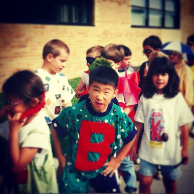 #tbt to first grade stank face on letter people day. Can you guess which letter I am?