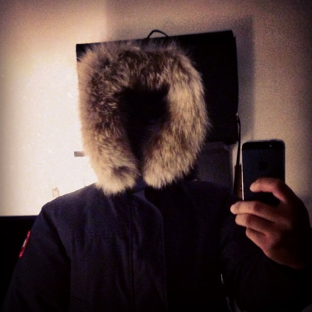 Trying on a new Canada goose jacket from the big sis. Am I doing this right? #selfie