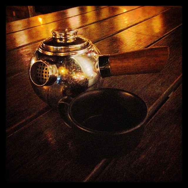 #steampunk #tea kettle at Coqueta on the Embarcadero. Super cool serving vessels and cutlery at this place. Probably the best charcuterie board I've had too.