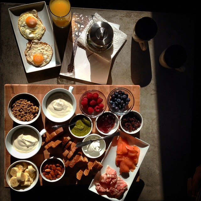 Brunch spread for two.