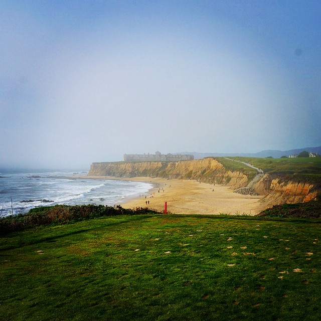 Playing the links just off the ocean at Half Moon Bay.
