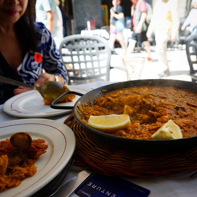 Sharing a piping hot paella with the mom-ster in Cartagena. #travel #spain #food