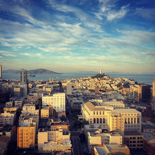 Sometimes you find yourself 32 floors high, brushing up against a cotton candy sky. #SF