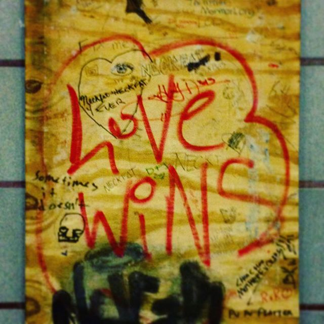 Love can be unpredictable. It can be uncertain. It can have harsh lines and be scribbled on a plank of wood in the T stop at Kendall Square... but if you let it, love always wins. Happy Valentine's Day, everyone. #neckfat4ever #love