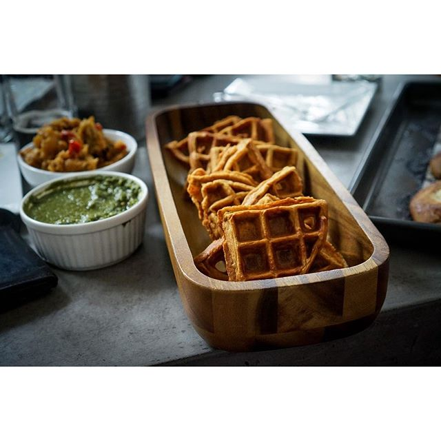 Chana masala #waffles with samosa potatoes and a cilantro mint chutney. #brunchnpunch