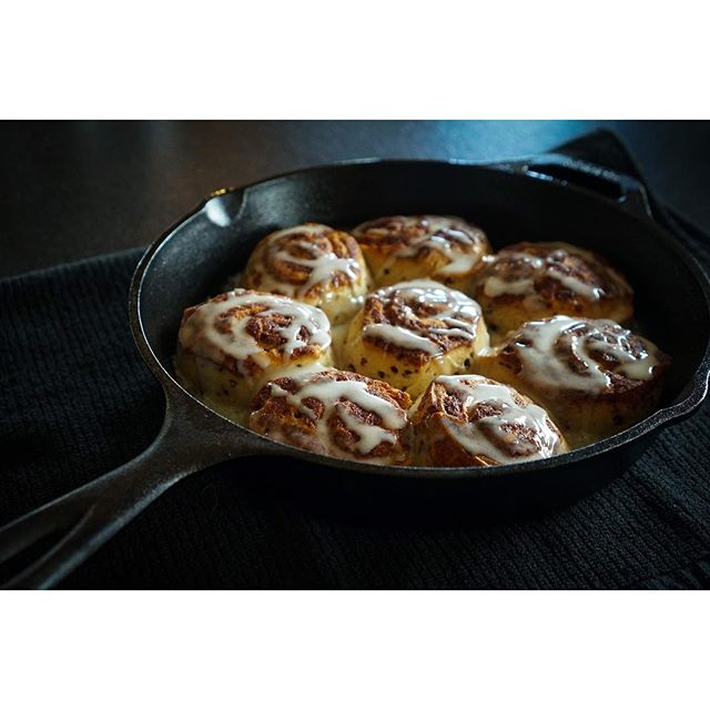 Eat your heart out, Pillsbury. No really, these are from that cheeky little dough boy. #cinnamonrolls #castiron