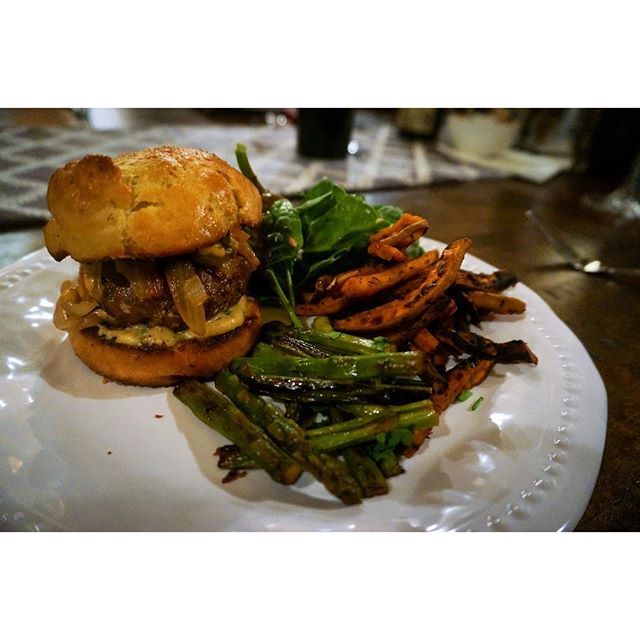 Short rib, coriander, and thyme slider on fresh made brioche roll. Not bad for eight dudes in Tahoe. #homemade #foodie