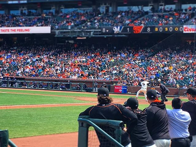 Midday Giants. Dugout seating. Gorgeous weather. Business meeting. #sf
