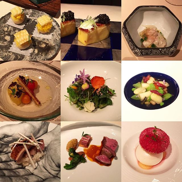 3x3 photos of 13 inspiring courses at a newly-minted 3 Michelin star spot (Manresa) with 3 great friends, at the close of Q3. #threesacharm (Highlights included an absolute bomb ham consommé, egg yolk dumpling, and buckwheat noodle salad. Mmm mmm)