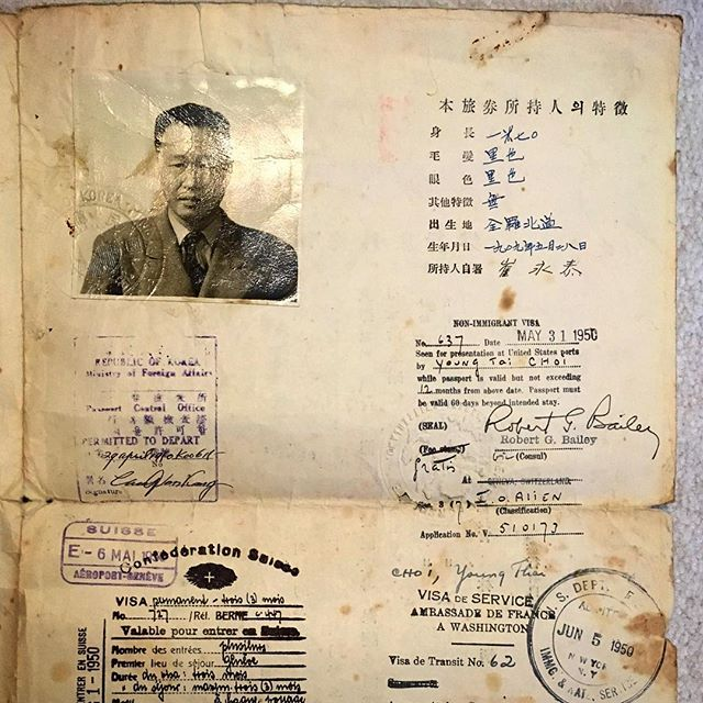 My grandfather's special Korean passport issued April 1950, just two months before the Korean War broke out. Recently learned that he was the country's chief delegate to the World Health Organization (WHO) and traveled to Geneva that year to negotiate aid for Koreans on the brink of conflict. #tbt #family #history