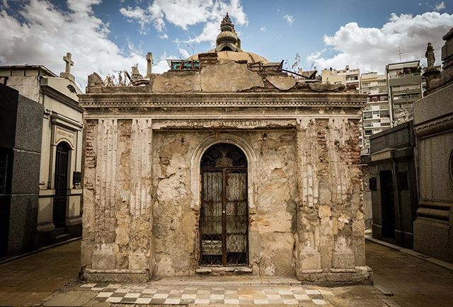 A wide-angle of La Recoleta cemetery, in Buenos Aires. Spanning 14 acres and 4691 similar vaults, the city's first public cemetery houses the remains of numerous Argentinian presidents and other historical figures, including Eva Perón (Evita).
