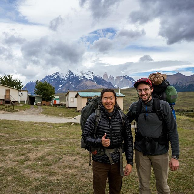 Day 1 in Torres del Paine, Chile. Here we are at the checkpoint Laguna Amarga, about to hike 60 miles through the #Patagonias. (For those following @michael_vince too, he's ahead of me, but I've still got some good ones you won't have seen. Stay tuned...)