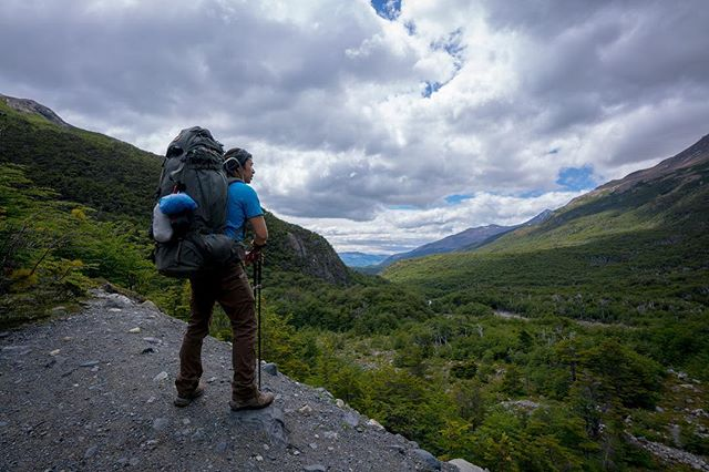 Day 4 in #patagonia, surveying progress. We'd started past those mountains in the distance. From here on it was just rocks and altitude up to Campamento Los Perros.